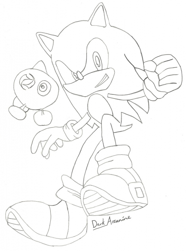 Sonic and a Green Wisp