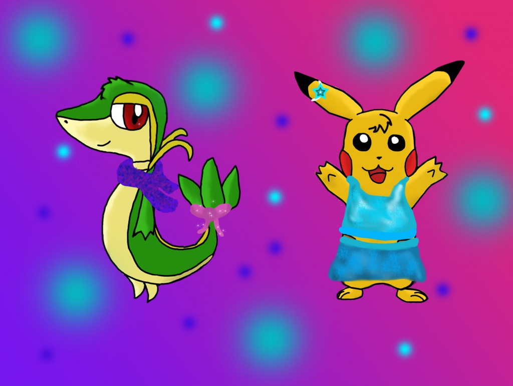 stylish snivy and pikachu