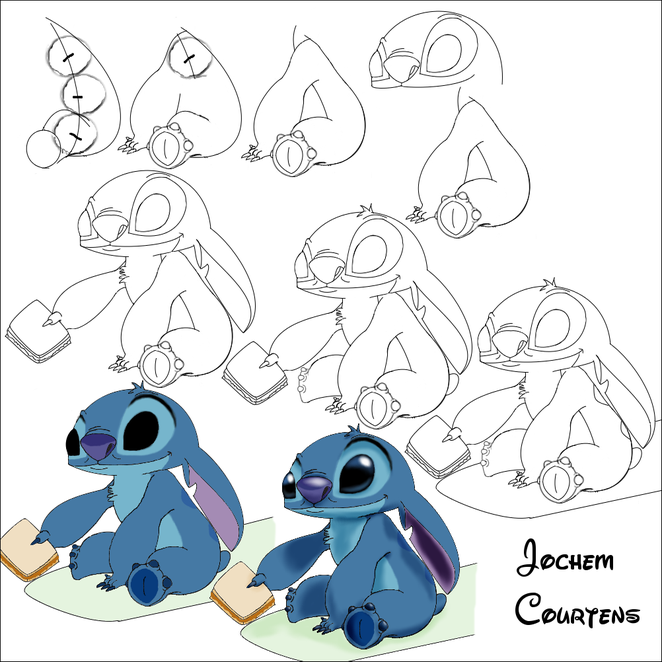 Stitch feeding pudge the fish progress drawings from for Pudge the fish