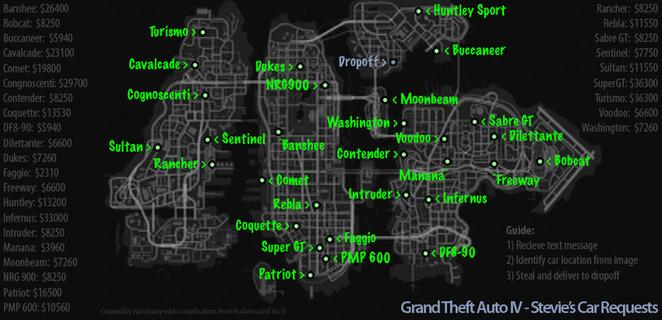 GTA 4 Stevies car locations