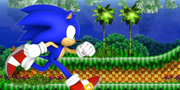 Sonic running through Green Hill Zone