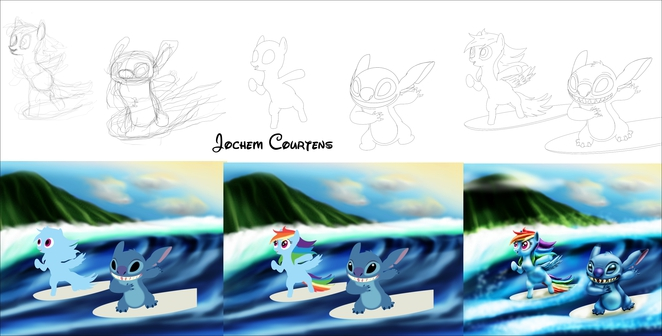 Surfing Stitch and Dash Process.