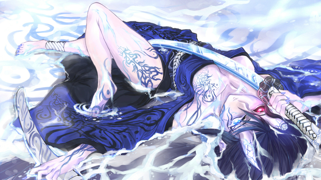 Tattooed Anime Girl with a Katana 1080p