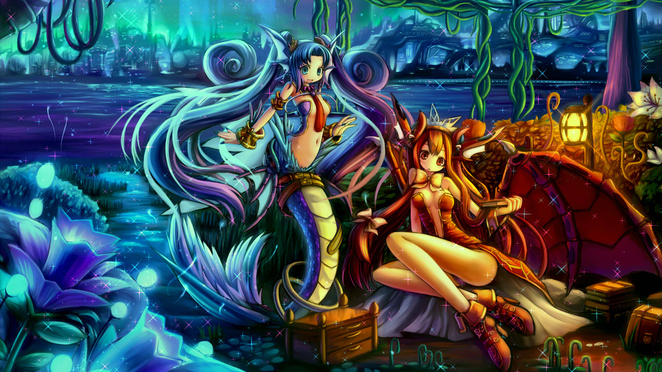 Mermaid and Winged Demon Girl 1080p