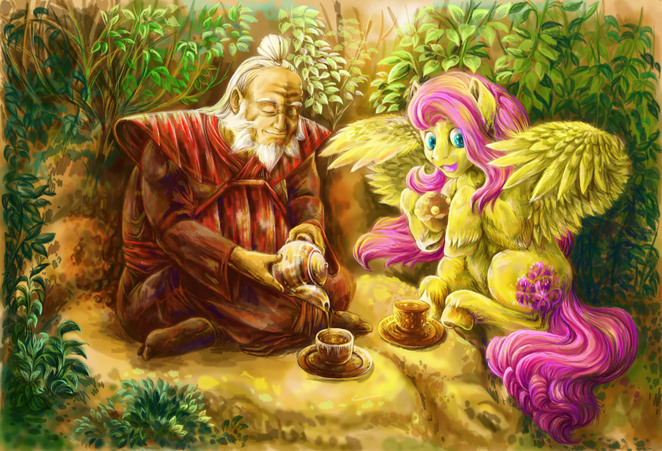 General Iroh and Fluttershy have Tea