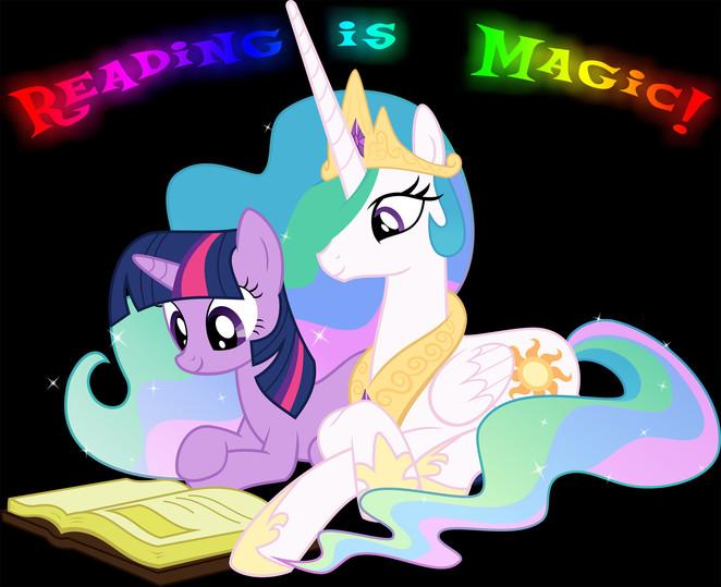 Twilight and Celestia - Reading is Magic