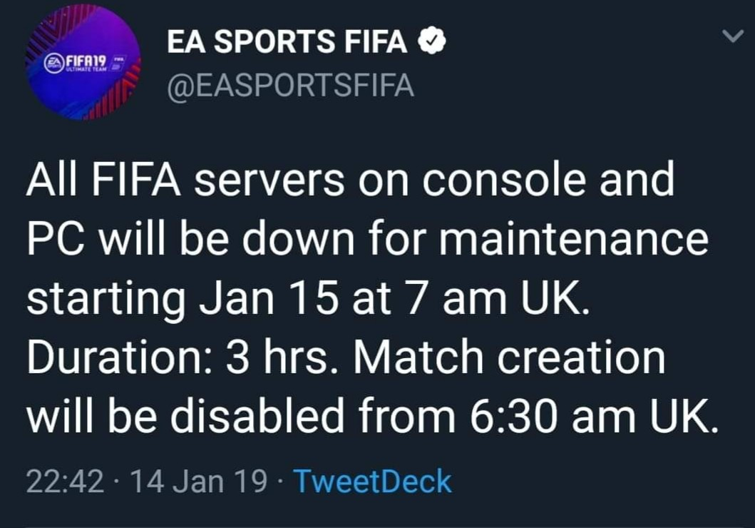 Server down Time today for Maintenance - FIFA 19 Forum - Neoseeker