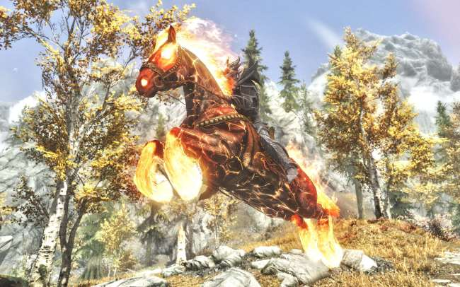 Skyrim Mod Grants You A Flaming Horse The Elder Scrolls