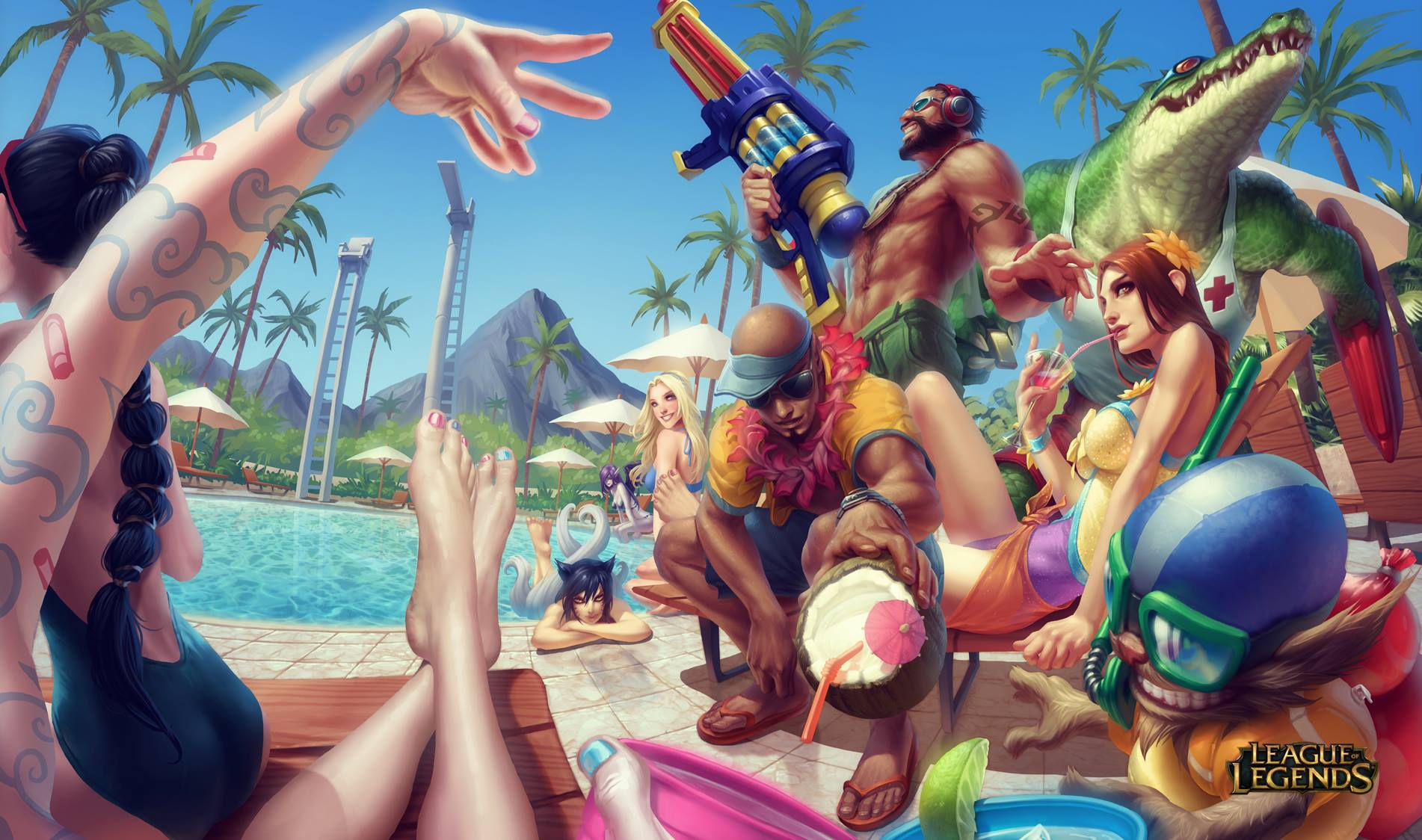 League Of Legends Celebrates Summer With Pool Party Skins For Leona