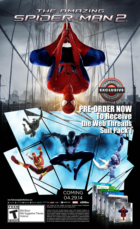The Amazing Spider Man 2 Gamestop Pre Order Bonuses Include Four