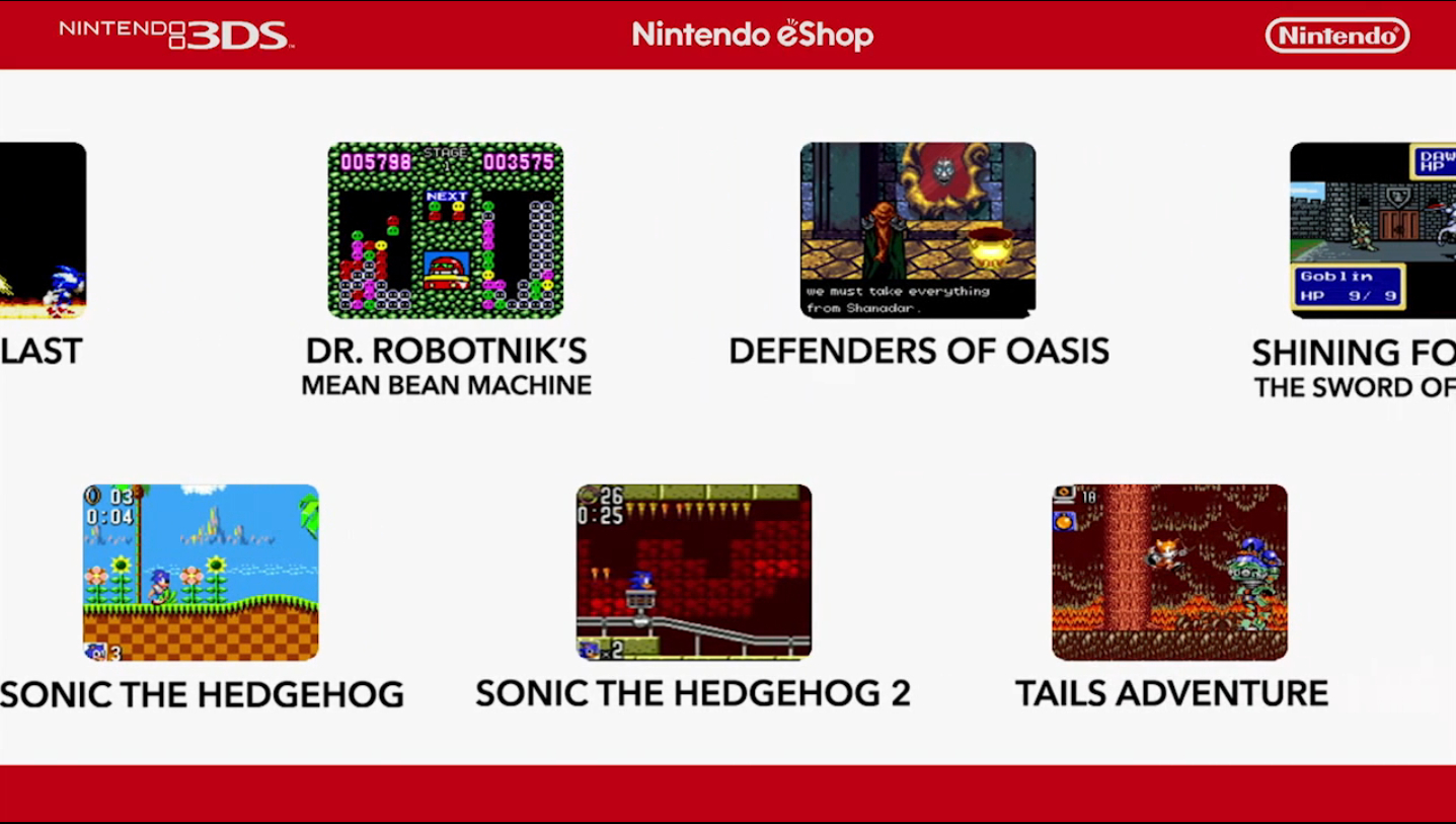 3Ds Future Releases 13 game gear games coming to the 3ds virtual console