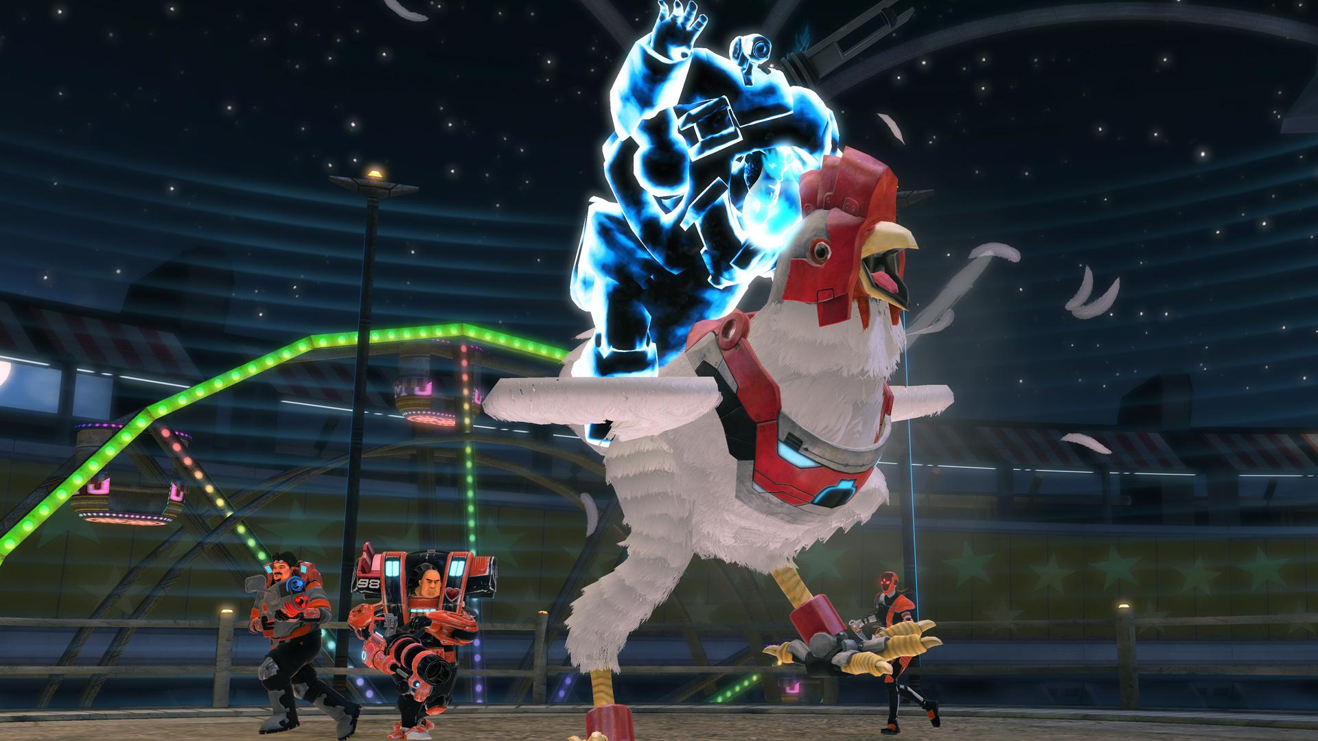 monday night combat pc update adds giant robot chicken neoseeker