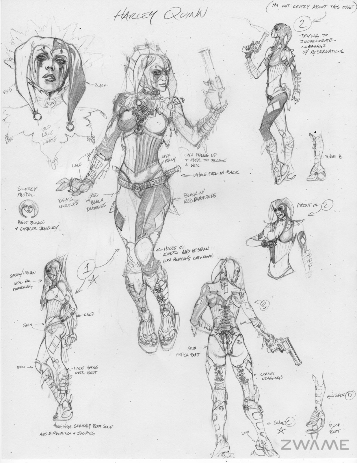 Arkham City Concept Art Shows Harley Quinn S Kinky Evolution Neoseeker