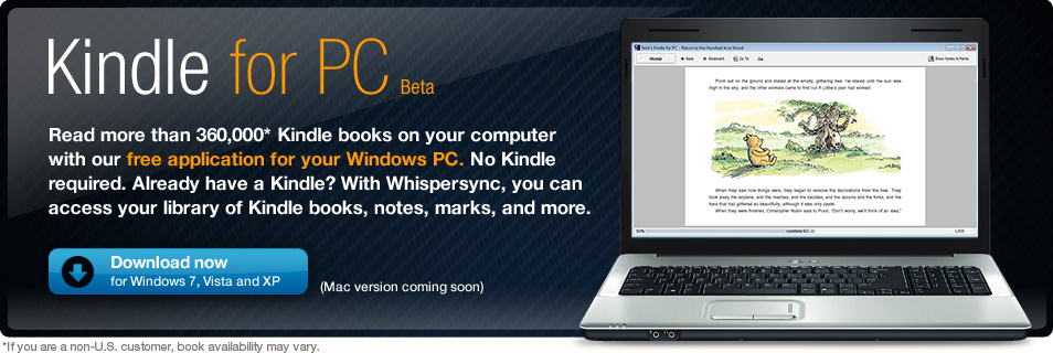Amazon releases beta Kindle ebook reader software for PC